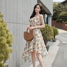 A-line Ruffles Vacation Korean Dress Spaghetti Strap Backless Sexy Summer 2019 Women Streetwear Midi Print Floral