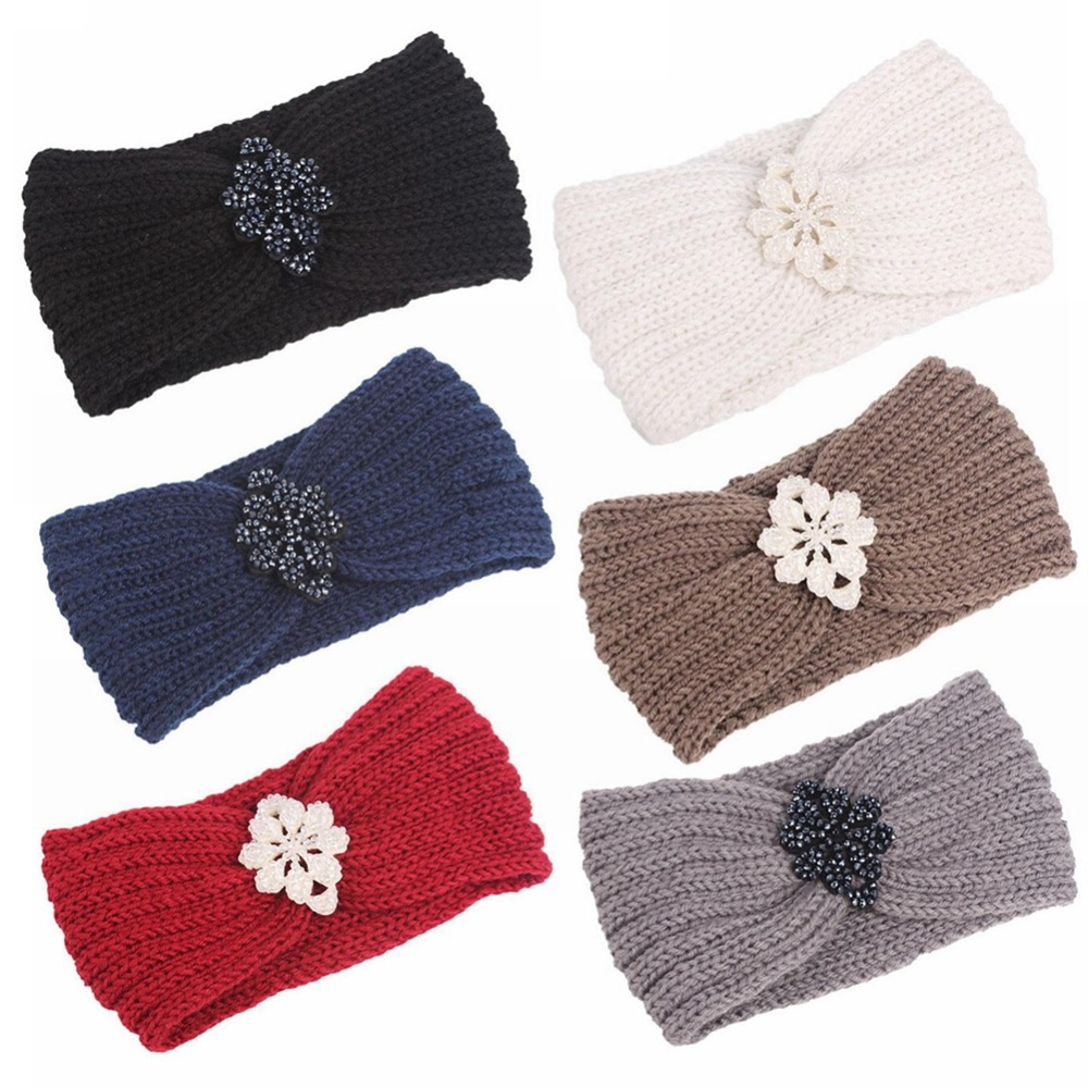 Vintage Crystal Flower Wool Yarn Knitted Headbands Winter Warm Wide Hair Band Headwrap Earmuffs For Women Headwear