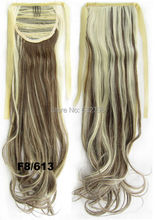 Big Sale Cheap Long 24inch 60cm Wavy Synthetic Ribbon Ponytail Extension #8/613 Mix Color  Drawstring Ponytails