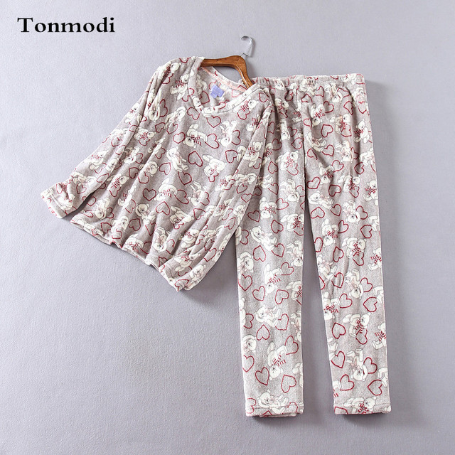 Pijamas para as mulheres Com Decote Em V pulôver de impressão de topo calças de flanela sono conjunto de Pijama de inverno Das Mulheres quente