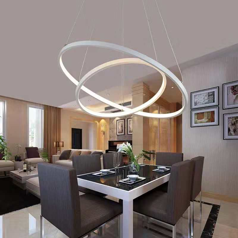 Led chandelier with remote control Living room Bedroom Kitchen modern pendant lamp Acrylic Lampshades led ring chandelier|Pendant Lights| |  - title=