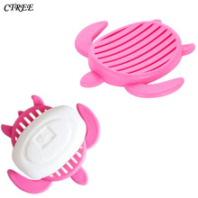 CTREE New Creative Multicolor Soap Case Dish Cute Turtle Drain Wash Shower kitchen Home Bathroom Accessories C44