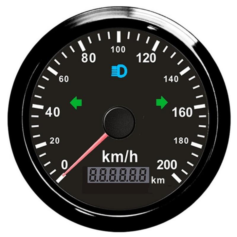 Waterproof 85mm GPS Speedometer 200km h for Snowmobile Motorcycle ATV UTV Total Mileage Adjustable 12V 24V