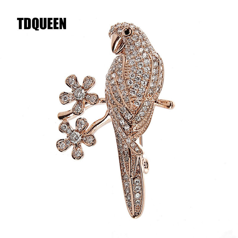Micro Pave Ladies Elegant Brooch Gold Color Metal Austrian Crystal Animal Bird Brooch Zirconia Pins and Brooches for Women chic rhinestoned faux crystal fox shape brooch for women