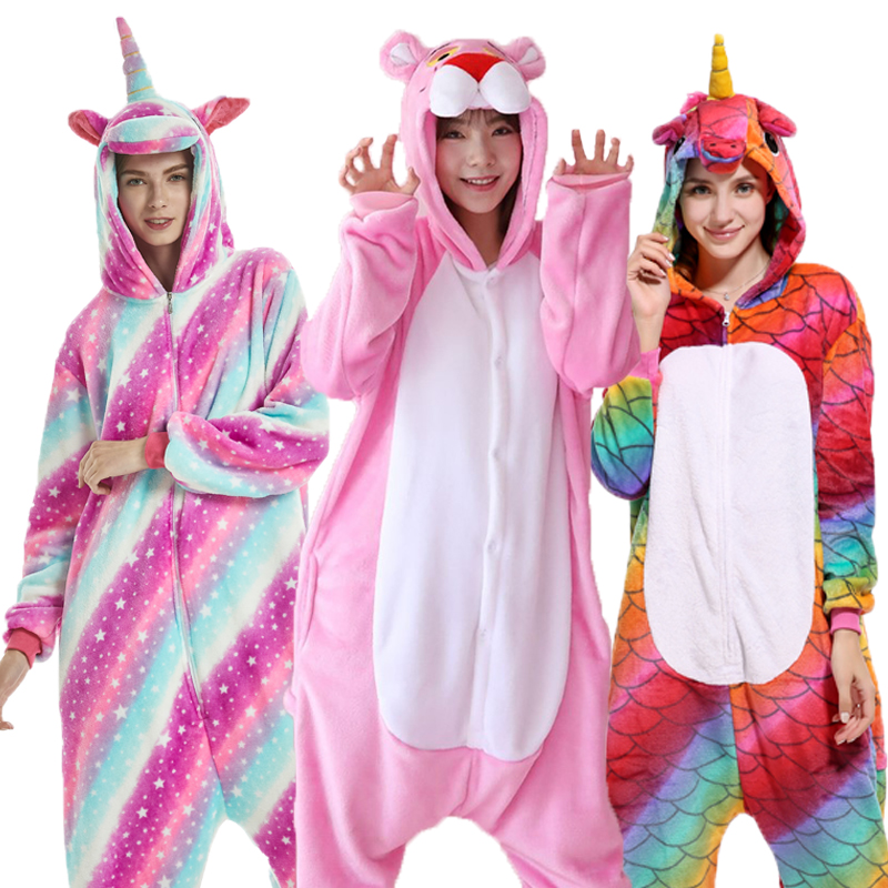 Kigurumi Animal Unicorn Stitch Panda Pajamas Flannel Warm Soft Cosplay Cute Christmas Onesie Pajamas For Women Men Kid Girl Boys