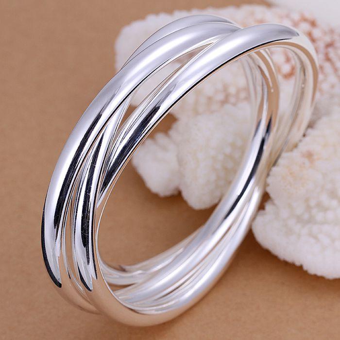 Jewelry & Accessories Forceful B047 Silver Fashion Jewelry 925 Jewelry Silver Plated Bangle Bracelet Triple Ring Bangle /yqknzvwj Sdzvqezs Reputation First Bangles