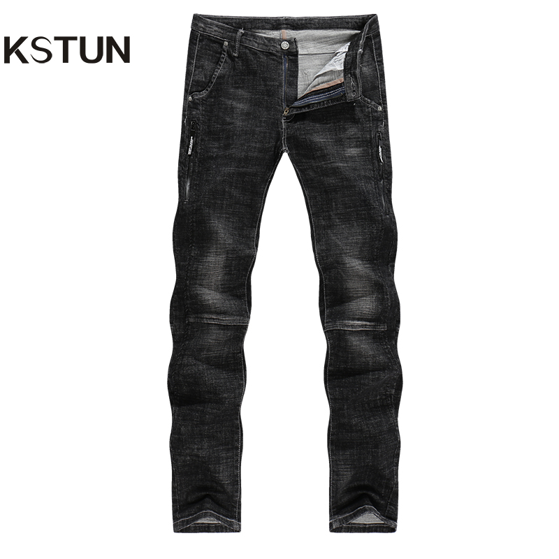 KSTUN Jeans Men Black Winter High Stretch Fake Zippers Quality Brand Male Pencils Skinny Slim Leg Pants Mens Trousers Jean Homme toonies brand jeans men four seasons high quality straight full length blue hip hop jean male denim skinny men s jean pant homme