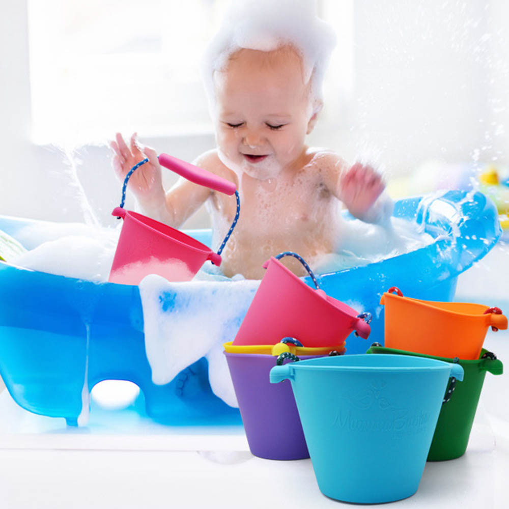 Kids Sand Toys Silicone Folding Sand Dabbling Pour Water Toy Beach Bucket  Hand-held Barrel Toy