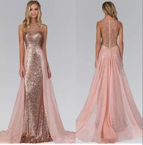 ce86f52568cf Rose Gold Sequined Bridesmaid Dresses With Train Illusion Back Formal Maid  Of Honor Wedding Party Gowns Custom Any Size