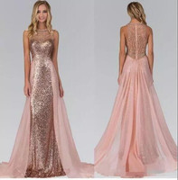 Rose Gold Sequined Bridesmaid Dresses With Train Illusion Back Formal Maid Of Honor Wedding Party Gowns Custom Any Size