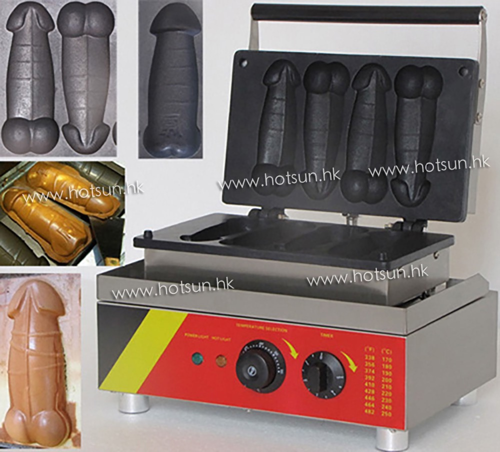 Commercial Use Non-stick 110v 220v Electric 4pcs A Piece of Gayke Penis Shaped Waffle Maker Iron Machine Baker