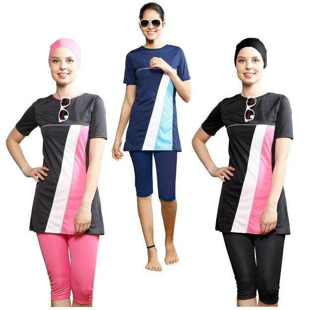 0e20896427369 Short Sleeve New 2018 New Bikini Women Girl Muslim Swimwear Printed Islamic  Full Cover Modest Islamic Swimming Suit Plus Size