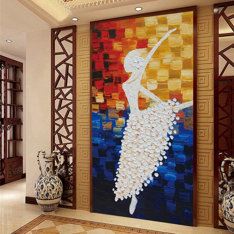 Custom 3d mural wallpaper European style Ballerina girl hallway painted wall paper abstract painting large mural ballet dance free shipping 3d stereo entrance hallway custom wallpaper vertical version european oil painting wallpaper mural