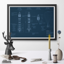 Buy blueprint art and get free shipping on aliexpress baizeruis rocket design blueprint print canvas no frame malvernweather Gallery