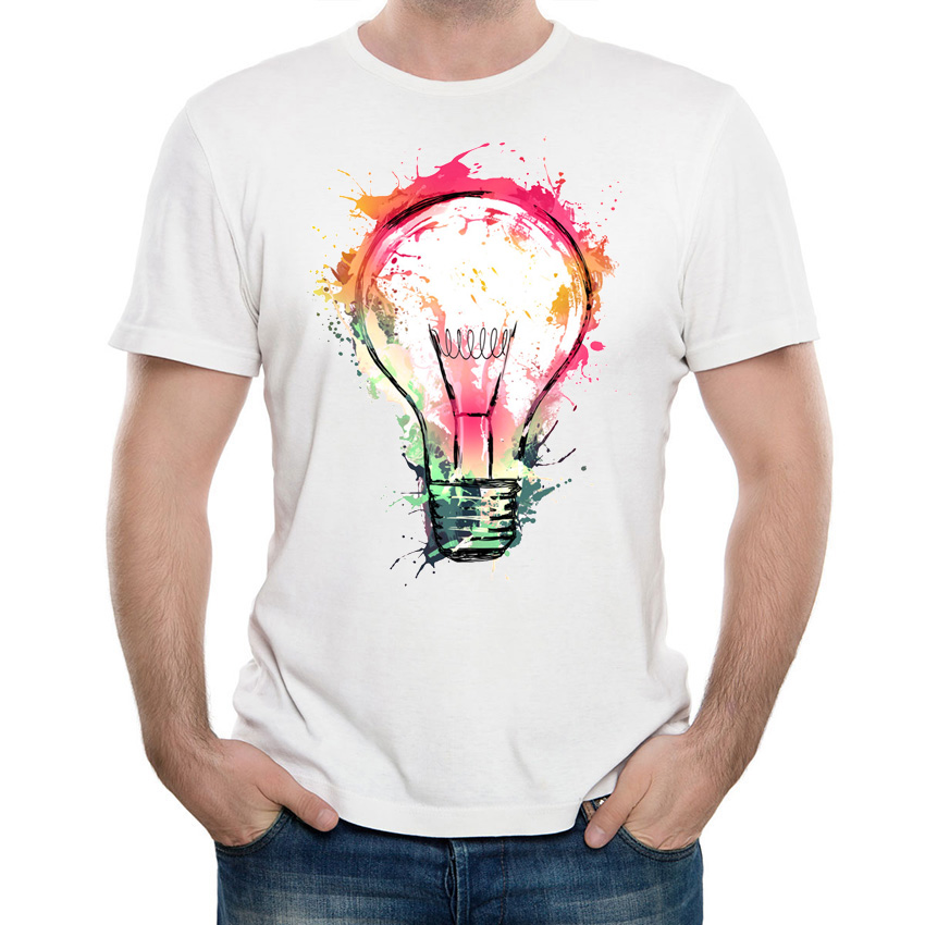 US $9.17 46% OFF|Art colorful Splash Ideas print T Shirt summer unique men  t shirt humor bulb design hip hop Tops hipster cool casual Tee-in T-Shirts  ...