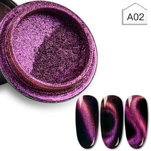 Image 4 - MEET ACROSS Cat Eye Magnet Chameleon Nail Glitter Powder Magnetic Mirror Effect Pigment Nail Art Decorations Polish Gel Accessoy