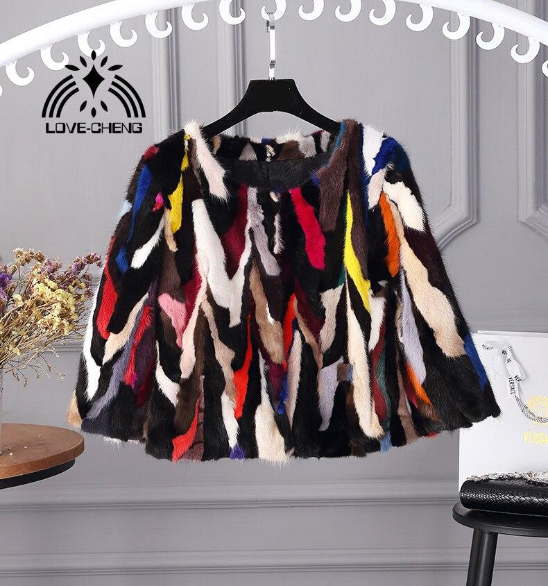 De Multi Style New Veste Manteau Couleur Luxe Vison Naturel D'hiver Mode Femmes Réel Court Fourrure Genuine couleur plein OSxwSqtF
