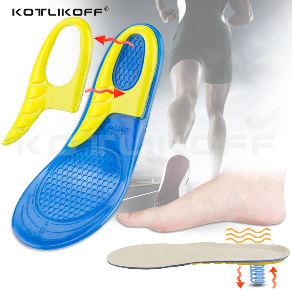 KOTLIKOFF Gel Insoles Silicone Shoe Pad Deodorant Shock Absorption Running Shoe Insoles Foot Pain Relieve Cushion Inserts