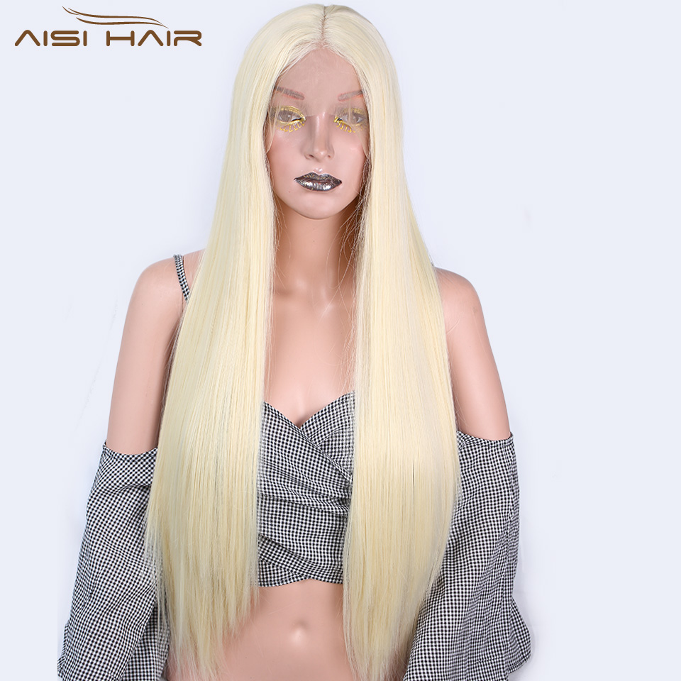 I's A Wig Long Synthetic Front Lace Wigs 26 Inch Yellow Straight Wig For Women Middle Part 613 Color High Temperature Fiber Hair