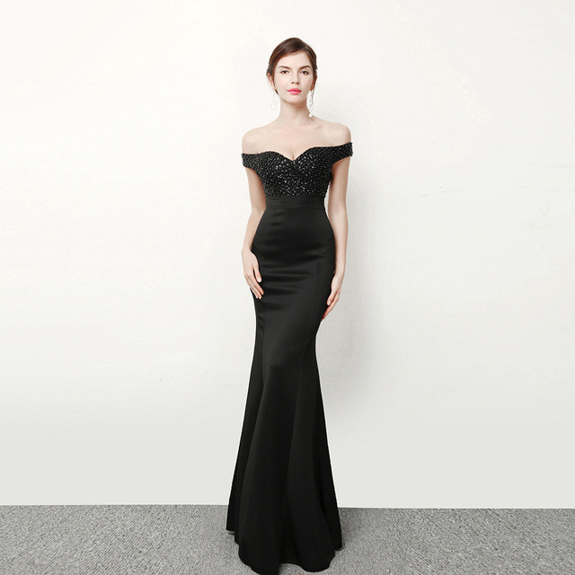 2d728f9e1 Vestido negro elegante moda Bohemia palabra de longitud Trompetas sirena  diamante vestido de fiesta robe sexy