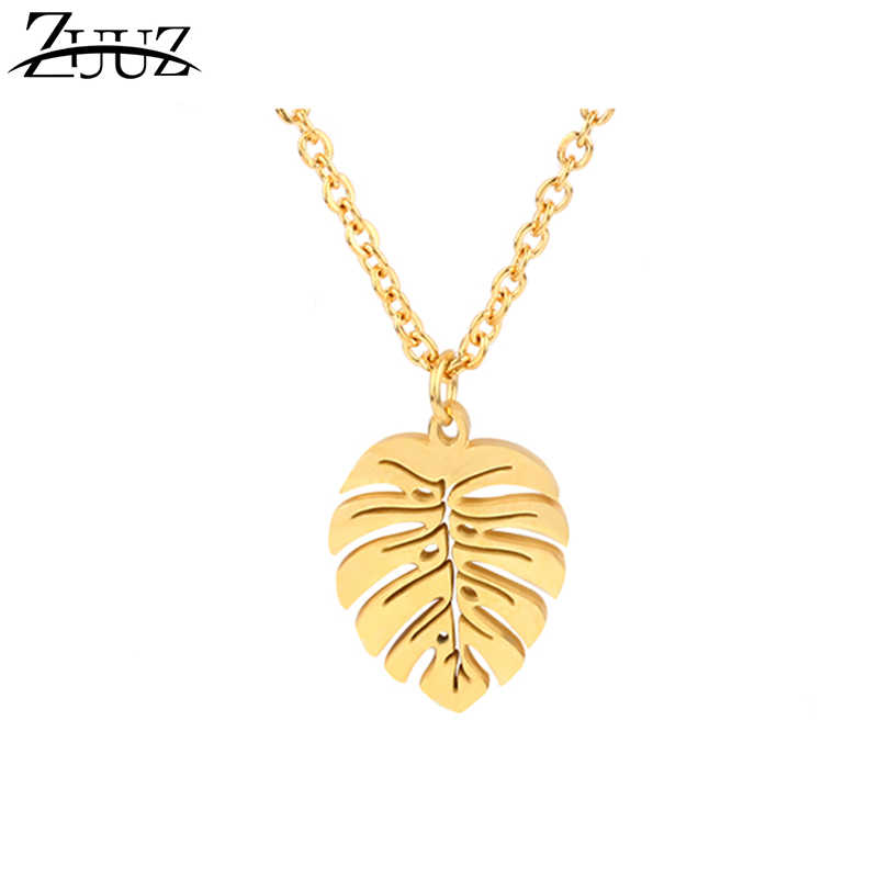 ZUUZ personalized leaf pendant necklace women chocker neckless stainless steel chain choker necklace accessories jewelry