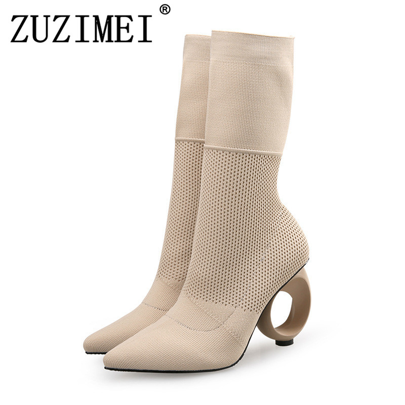 Fashion Ankle Elastic Sock Boots Chunky High Heels Stretch Women Autumn Sexy Booties Pointed Toe Women Pump Size 35-40 zorssar fashion ankle elastic sock boots chunky high heels stretch women autumn winter sexy booties women ankle boots size 43
