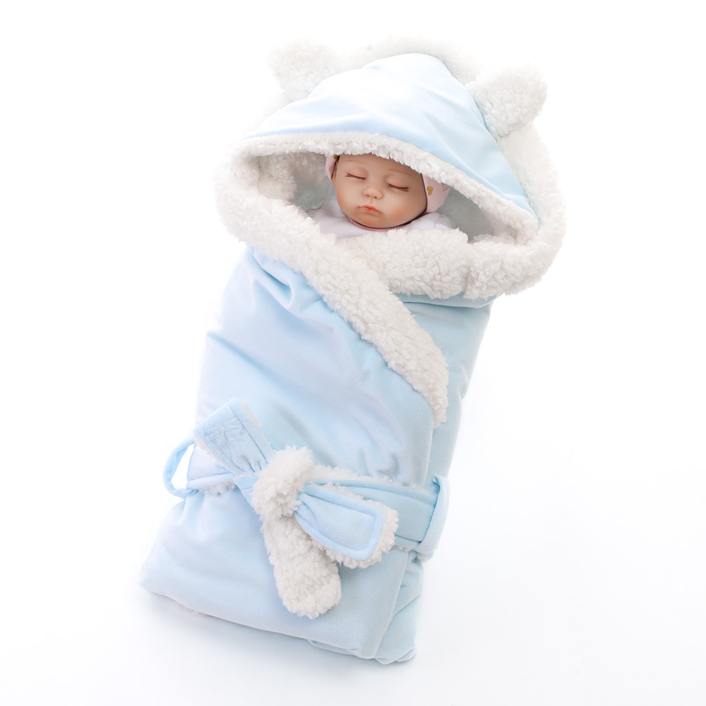 MYUDI - Thick Warm Baby Swaddle Blanket Newborn Infant Envelop Coral Fleece Thick Blankets Autumn Winter Baby Crib Sleepbag newborn baby blanket bed crib toddler unicorn pattern knit blankets infant soft baby fleece pram crib blanket size 60 120cm