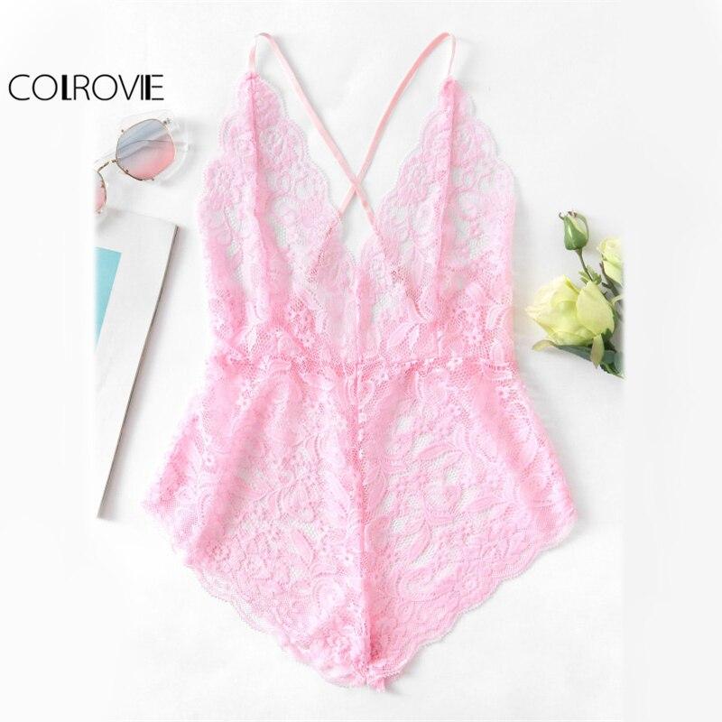 COLROVIE Pink Sheer Lace Sexy Cross Bodysuit Women Scalloped Trim Strap Thin Sweet Bodysuits 2017 Ladies Slim Plus Size Bodysuit