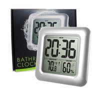 Waterproof Digital Bathroom Shower Wall Clock Thermometer Humidity Time Display