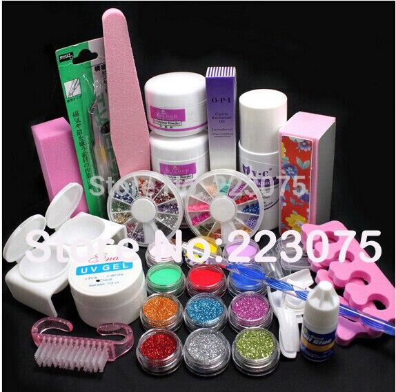 Victor's Packing Store Pro Full Acrylic Powder Liquid French Nail Art Brush Glue UV Tip Kit Set