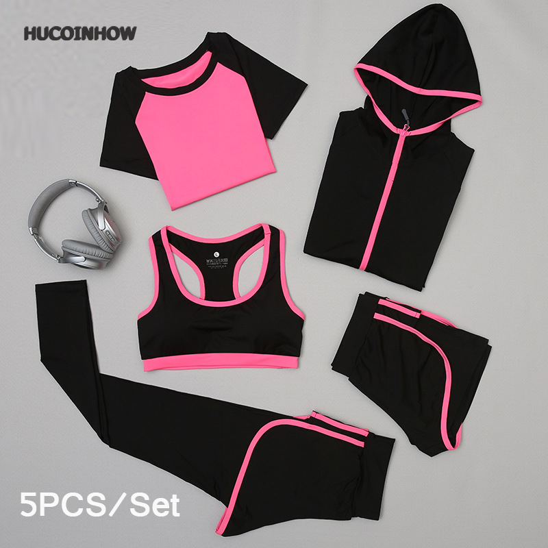 HUCOINHOW Yoga Clothes Female 5Pcs/set Sports Outdoor Suit Women Running Clothing Fitness Suit Sport Kit Womens Tracksuit