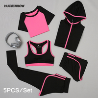 HUCOINHOW Yoga Clothes Female 5Pcs Set Sports Outdoor Suit Women Running Clothing Fitness Suit Sport Kit
