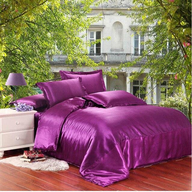 Purple 100% Satin Silk Bedding Set 2 Sides Silk Bed Sheet Pillow Cases  Blanket/