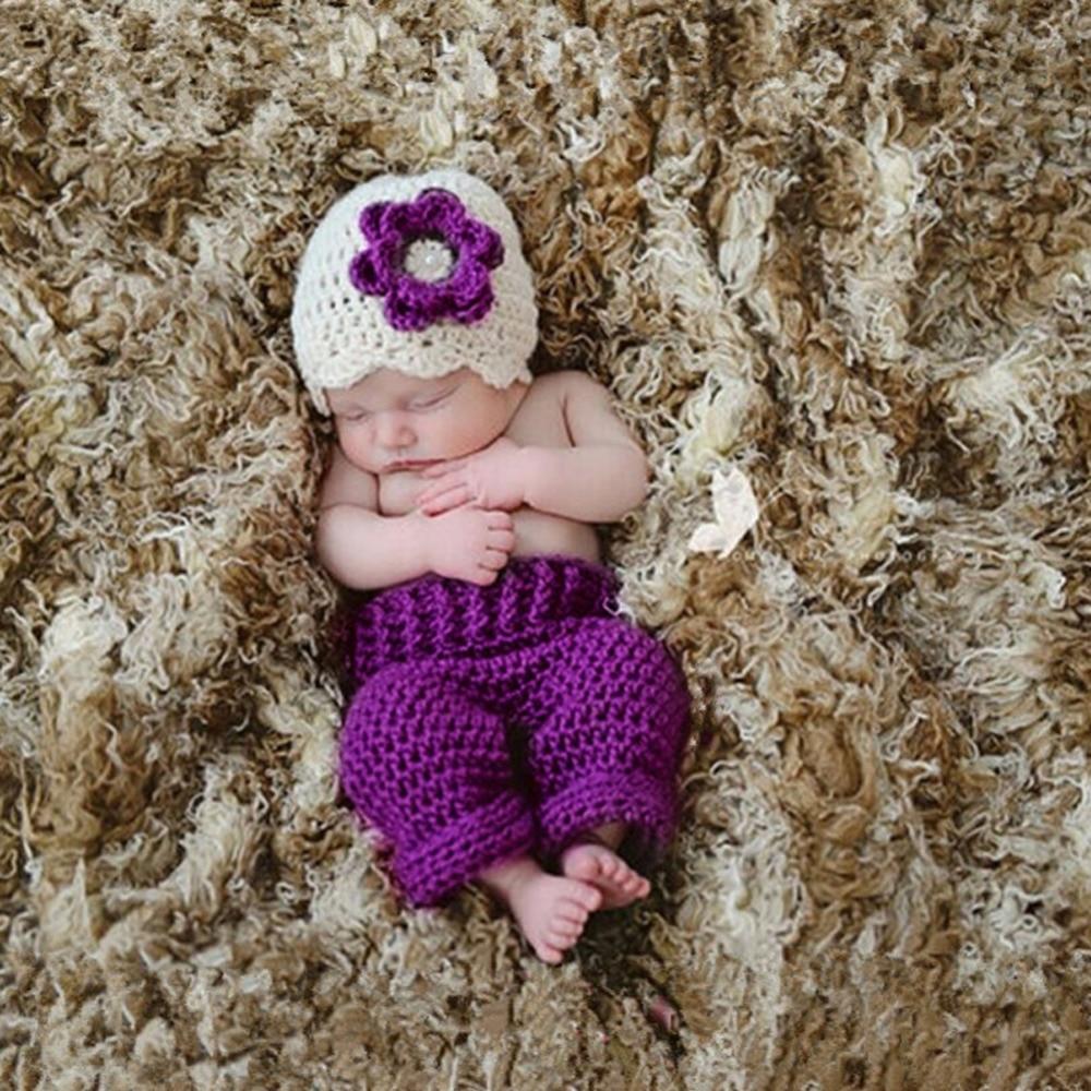 Jungen (0 -24 Monate) ISOCUTE Fotografie Requisiten Neugeborenen Häkeln Set Gestrickte Outfits Hut Hosen mit Tasche für Baby Jungen Mädchen 0-3 Monate Baby