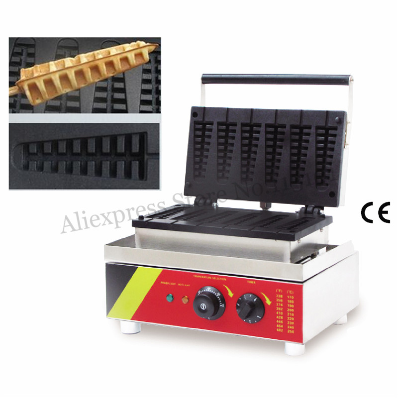 Pine-tree Shape Electric Lolly Waffle Machine 6 Moulds 110V 220V 1500W Waffle Baker for Restaurant Coffee House Snack Bar lolly waffle baker commercial snack machine stainless steel tower shaped lolly waffle machine with six pcs lolly waffle moulds