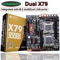 Comprar descuento placa base HUANAN ZHI dual X79 LGA2011 Placa base con M.2 ranura dual Giga LAN 4*32G 128G 1866 MHz SATA3.0