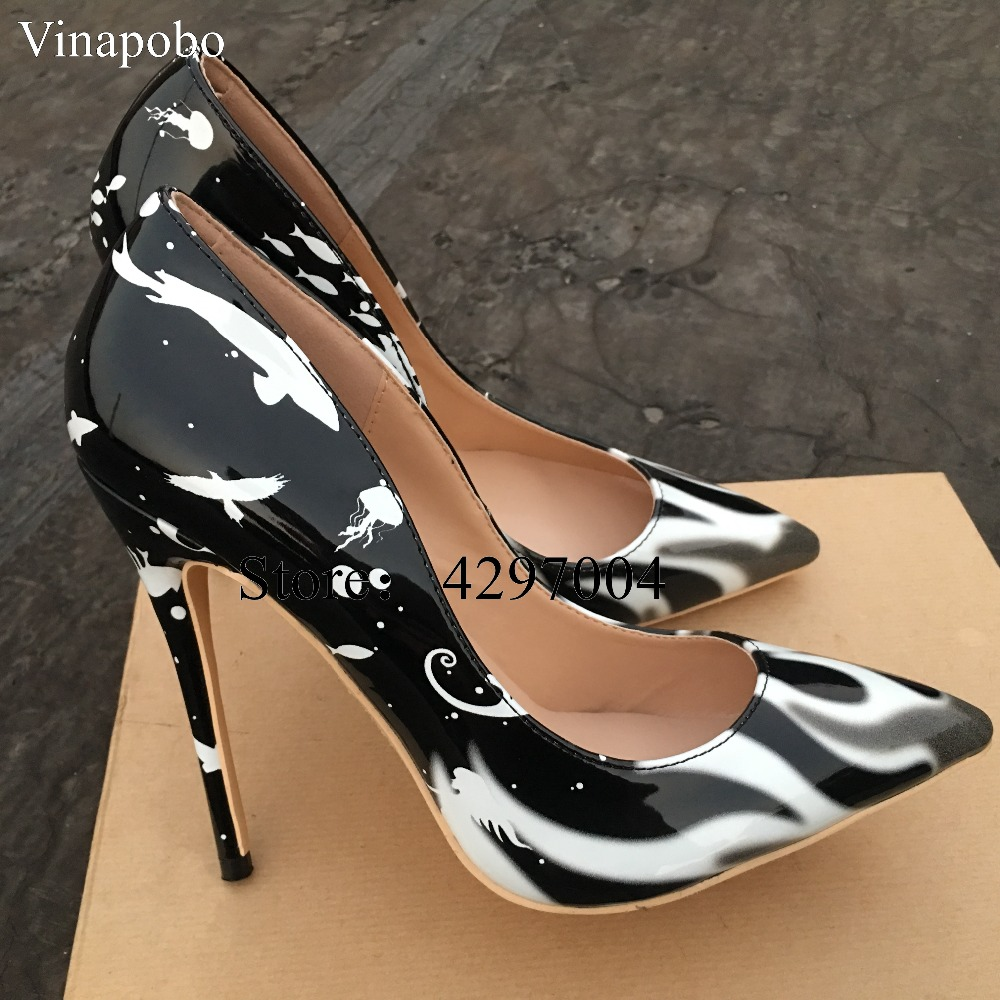 Vinapobo Colorful Floral Printed Women Party wedding Shoes 10 8cm Stiletto Sexy High Heels Shallow Classical