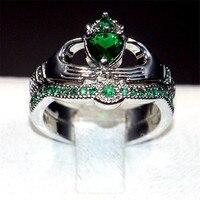 Claddagh In Possesso di Cuore di amore Verde 5a Zircon Crown Wedding Ring Set Eterna oro bianco 10KT riempito regalo Gioielli di Cristallo formato 5-10