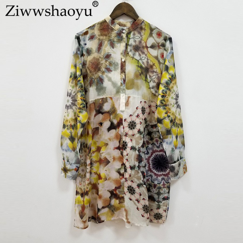 Ziwwshaoyu Fashion Print shirt 100% cotton Stand Embroidery Loose Spring and summer new womens