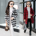 Girls child plaid woolen trench outerwear autumn and winter 2016 child overcoat medium-long with a hood woolen coat