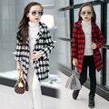 Meninas xadrez criança trincheira de lã outerwear outono e inverno 2016 casaco criança de médio-longo com um capuz de lã casaco