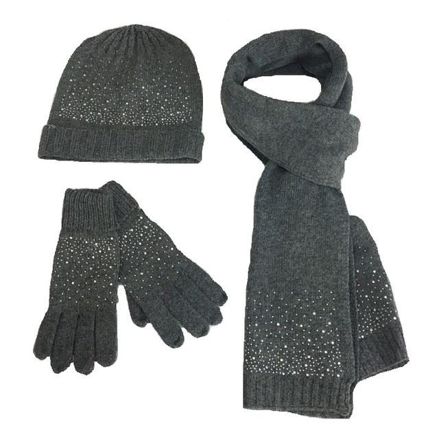 Fashion Wool 3PC Women Hat Scarf Glove Sets Autumn Winter Lady Warm Wool  Scarf Hat Glove 3325223c3bb