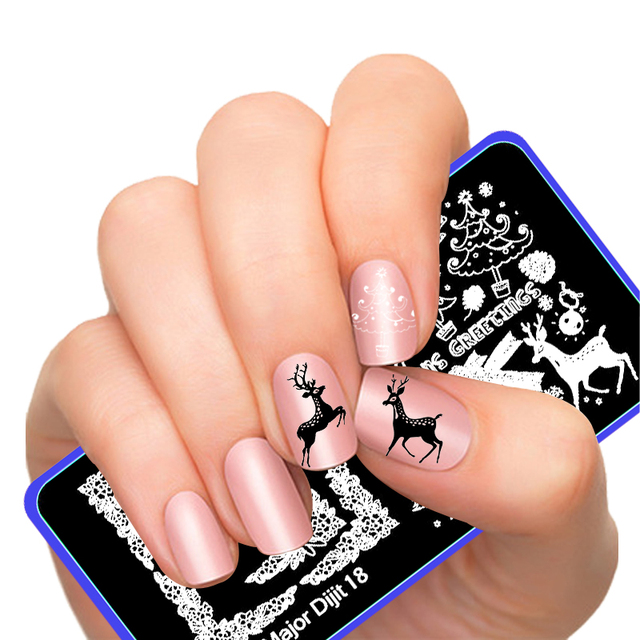 Merry Christmas Nail Art Stamping Image Template Lucky Deer Party