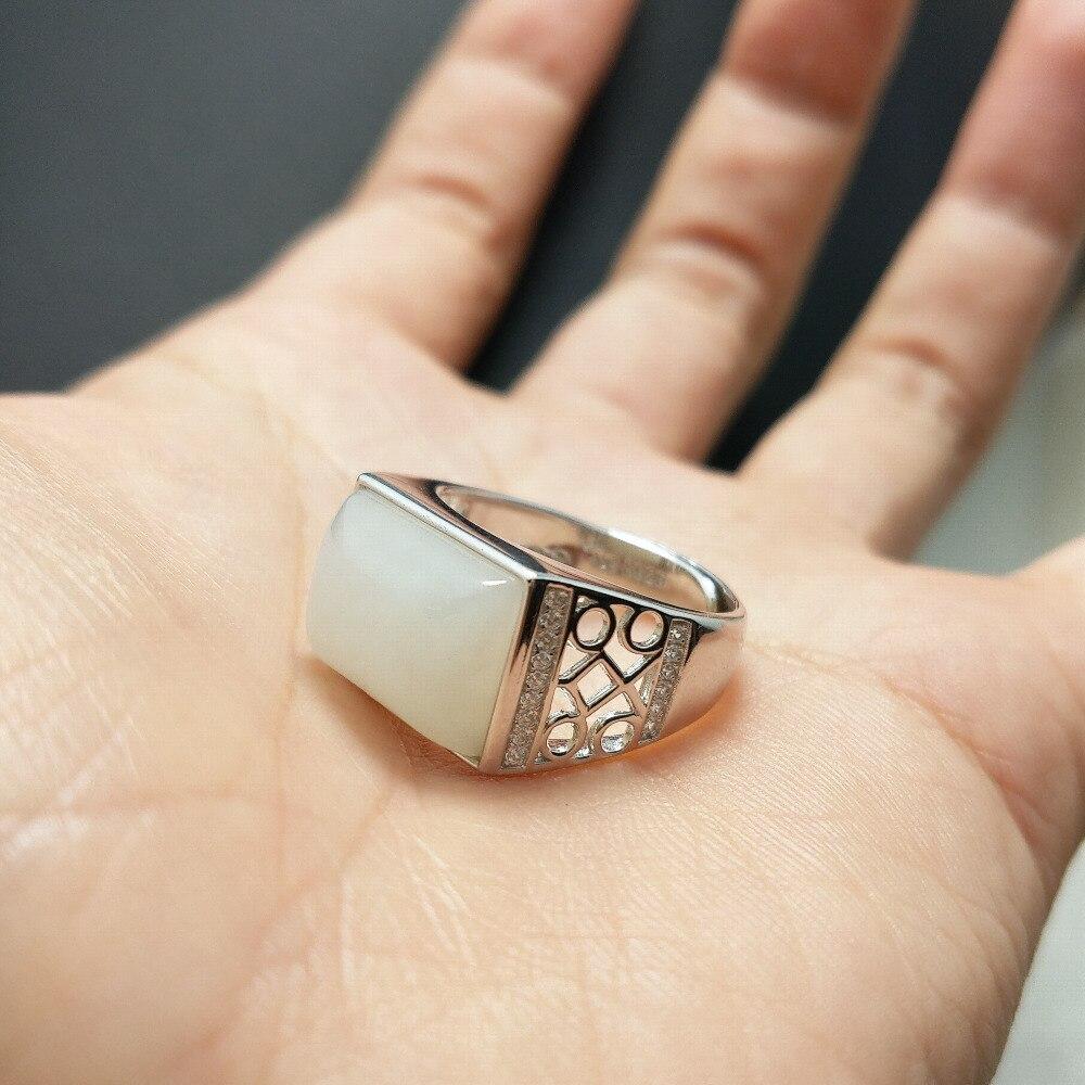 FLZB, grote steen mannen vinger ring Tectangle Natuurlijke Jade geluk ring voor mannen 925 sterling zilver met 18 k wit goud plated ring-in Ringen van Sieraden & accessoires op  Groep 2