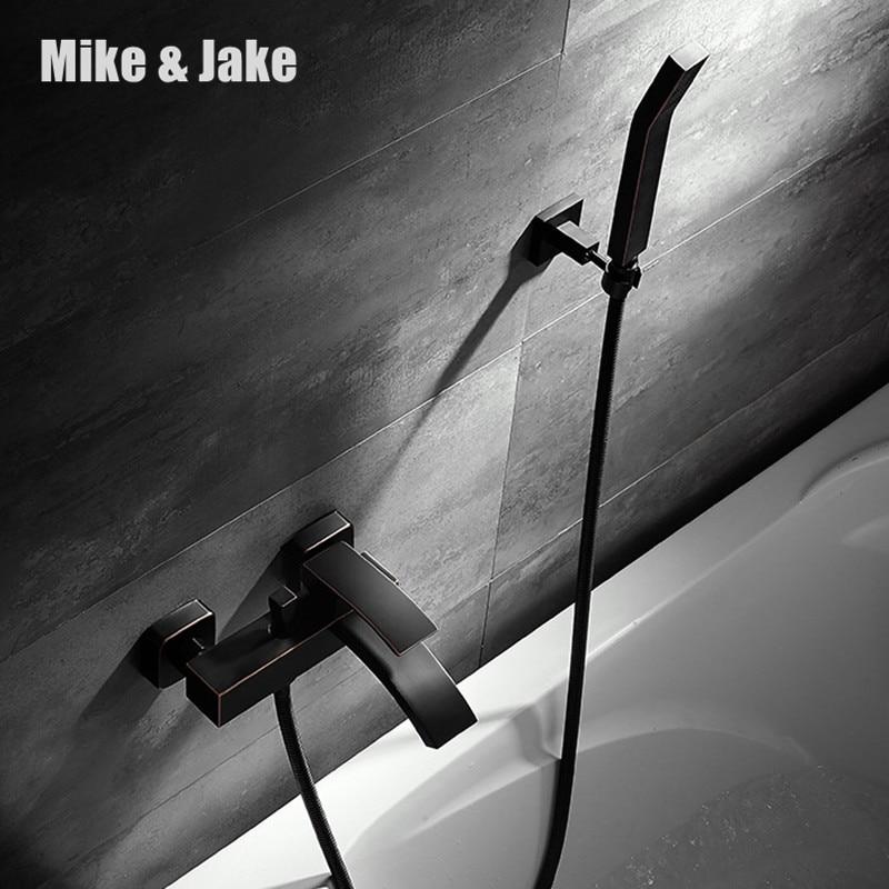 Black bath shower faucet mixer simple shower faucet bathroom telephone bath faucet with hand shower bathroom shower tap european blackened washing toilet rooms copper black simple shower bath shower faucet handsprays