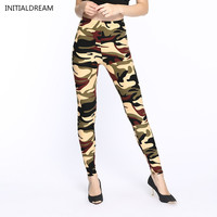 2016 New Womens Leggings Sexy Slim Army Green Camouflage Printed Elastic Sport Fitness Leggings Pant Free