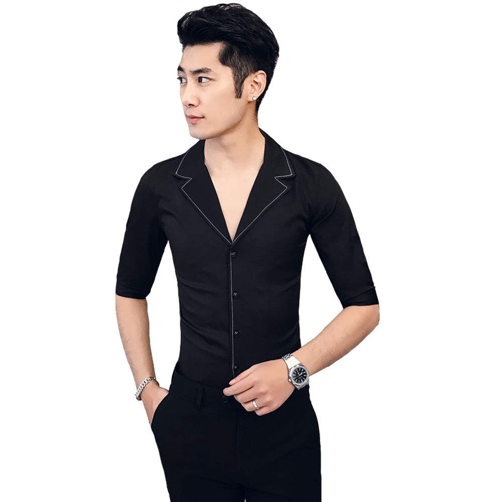夏無地 7 分袖シャツ男のスーツの襟カジュアルスタイル黒ホワイトスリムフィットファッションシャツ男性