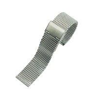 Silber Hochwertigem Edelstahl Herrenuhr Band Web Mesh Armband für Männer Frauen Uhren Push Botton Versteckte Armband