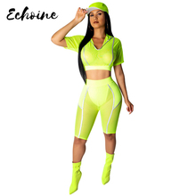 Echoine Fluorescent Yellow Summer Mesh See Through Hooded Crop Top Knee Length Pants 2 Pieces Set Women Casual Tracksuits