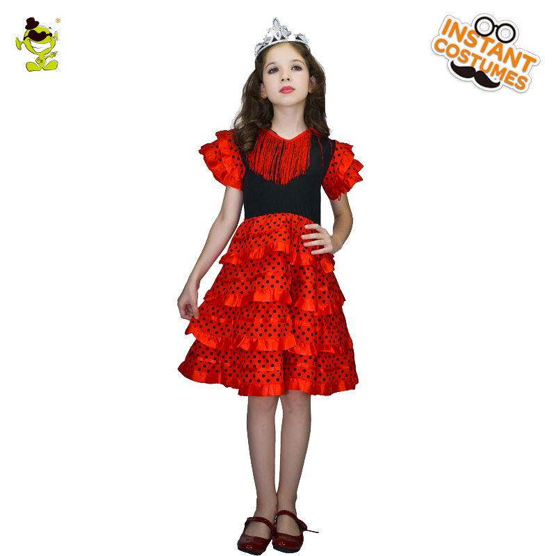 Disciplined Elegant Red Princess Costumes With Black Dots Kids Noble Spanish Queen Show Clothes For Halloween Carnival Masquerade Party To Ensure A Like-New Appearance Indefinably